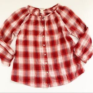SUNDANCE Plaid Soft Flannel Peasant Button Up Top